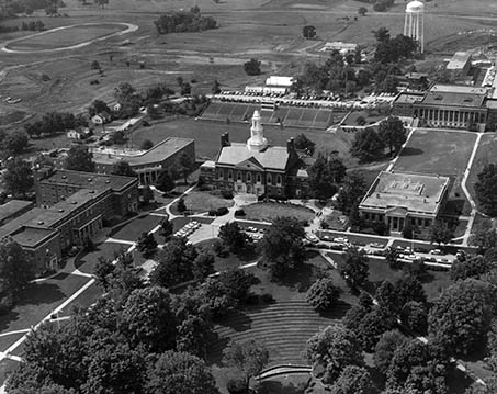 Aerial view of Eastern Kentucky University's campus