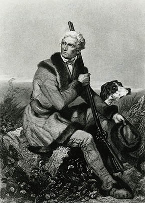 Painting of Daniel Boone with his dog.
